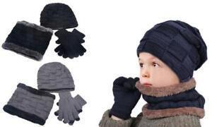 Kids 3pc Skull Cap Beanie, Circle Scarf and Gloves -- Black/Grey