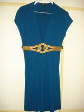 New Sky Cocktail Dress in Teal Blue,Size Large, 93% Rayon/7%Spandex