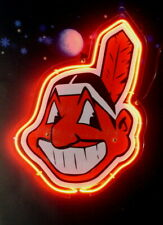 """Cleveland Indians 3D Acrylic Neon Sign Beer Gift 14""""x10"""" Light Lamp Artwork"""