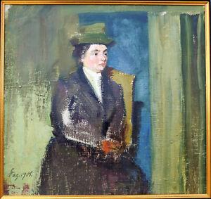 Kliefert-Gießen, Mathilde(1887Pries–1978Stralsund)Vornehme Dame mit Hut..Öl/1908