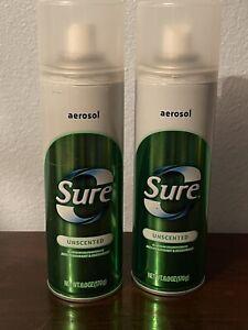 Sure Unscented Aerosol Deodorant Spray - 2 Full Cans VTG