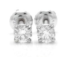 0.60Ct Natural VS2-SI1 Diamond 14k Solid White Gold Stud Earrings