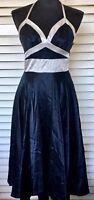Camilla and Marc sz 8 women dress navy blue silver wedding designer 100% silk