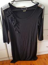 CHARLIE BROWN Dress LBD Black Silver Mesh Size 10