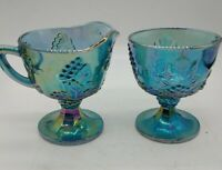 "Indiana Glass Iridescent Blue Carnival Grape Harvest Creamer Sugar Set 4""tx3.5""w"