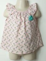 GIRLS ZARA BABY GIRL PINK FLORAL SHORT SLEEVE TOP BLOUSE AGE 18-24 MONTHS