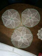 3 X Tapetes De Encaje Vintage ~ ~ ~ redondo verde ribete ~ en muy buena condición