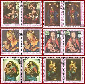 Ecuador 1967 ART, Religion, Virgin, Madonna paintings, pairs used, Mi 1345-1350