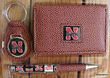 Nebraska Cornhuskers Football NCCA Brown Tri-Fold Wallet keyring Pen Gift Set