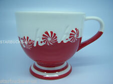 STARBUCKS NEW HOLIDAY RED WHITE PEPPERMINT CANDY HO HO HO PEDESTAL MUG CUP 12 OZ