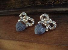 Vintage Butler & Wilson Crystal Bow and Blue Quartz Heart Pierced Earrings