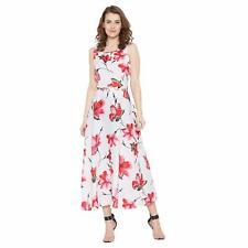 Damen Kleid Blumen Maxi Weiß Key Hole zurück Kleid für Mädchen