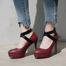 Women High Heel Platform Round Toe Lady Ankle Cross Strap Mary Jane Party Shoes