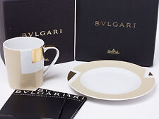 BVLGARI Porcelain Mug Cup Saucer Tableware Dish Plate Ornament Auth New Rare
