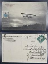 France 1910 Rare Nantes Aviation Expo/Flight Meeting Label on Pic Ppc Card to.