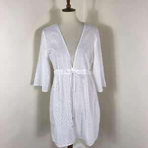 Tory Burch Eyelet Swim Coverup Size XL White Cotton Broderie Anglaise