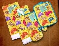 Happy Easter Spring Bunnies Set of 2 Kitchen Towels Potholder Oven Mitt  NEW