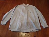 Light Blue TOMMY HILFIGER Regular Fit Button Down Long Sleeve Shirt. Size Large