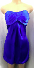 """CACHE"" BRIGHT BLUE SATIN STRAPLESS CAREER COCKTAIL SILK BUBBLE DRESS SIZE: 6"