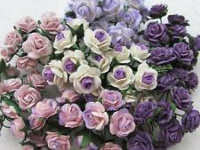 100 pcs mini Rose mixed Purple color Mulberry Paper Flower 10 mm...