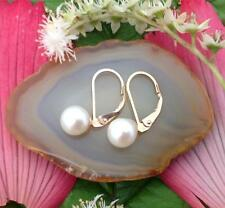 Leverback Freshwater 9 Carat Yellow Gold Fine Pearl Earrings