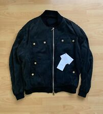 Balmain Men's Black Cutting Silk-satin Bomber Jacket Size M $2900