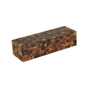 Faux Tortoise Shell Decorative Box Rectangle Keepsake Treasure Mosaic Dark Brown