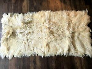 """NATURAL SHEEPSKIN LONG HAIR FUR ANIMAL RUG THROW 61"""" X 31"""" FLOKATI SWEDEN"""