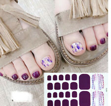 Foot Stickers Art Glitter Wraps Full Polish Cover Toe Nail Summer Purple