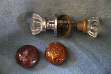 Vintage door knob sets glass crystal porcelain brown