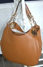 MICHAEL KORS LEATHER FULTON LARGE HOBO LUGGAGE BROWN GOLD SHOULDER BAG NEW $398