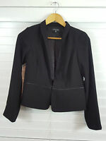 EILEEN FISHER sz 8 (or PP) womens Black jacket w/ Leather trim RRP$700 [#1987]