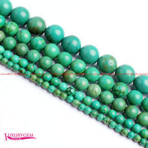 """High Quality 4mm 6mm 8mm 10mm 12mm Green Round Natural Turquoise Gem Beads 15"""""""