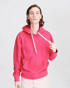 New $250 Rag & Bone Damon Cotton Hoodie in Pink sz S