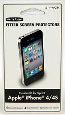 NEW WriteRight iPhone 4/4s Fitted Screen Protector 3-PACK Sprint Scratch Protect