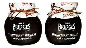 MRS. BRIDGES of SCOTLAND, SET OF 2, STRAWBERRY PRESERVE with CHAMPAGNE, 12 oz Ea