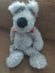 28cm SMALL JELLYCAT SCRUFF GREY PUPPY DOG SOFT TOY J42 RED CHECK RIBBON BOW