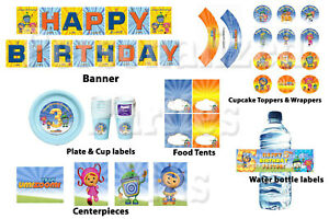 Team Umizoomi birthday party kit: DIGITAL banner, cupcake toppers & wrappers