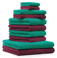 Juego de toallas Classic- Premium 10 piezas color: rojo oscuro y verde esmeralda
