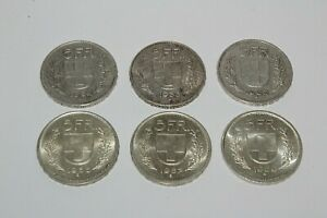 SWITZERLAND SWISS SILVER 5 FRANC 1932 - 1969 B COINS - COLLECTABLE