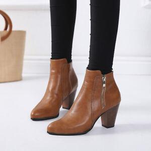 Moda mujer botas botines de cuero con punta redonda Bota de negocios