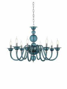 Chandelier Glass Hanging Teal Modern Design 8 Lights cic-tebe-8