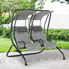 Outsunny Canopy Swing 2 Separate Relax Chairs w/ Removable Canopy Grey