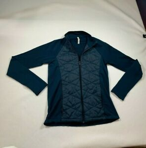 Athleta Flurry Force Insulated PrimaLoft Jacket Womens L Teal Quilted Full Zip