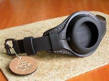 WW1 MILITARY POCKET WATCH STRAP GENUINE LEATHER WRIST BAND BLACK CASE 48-54mm