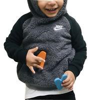 Nike Winterized Hoodie (Toddler Size 2T) Sherpa Fleece Pullover Dark Gray Black