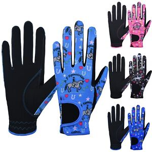 AFE Childrens Equestrian Kids Printed Horse Riding Gloves Synthetic Leather
