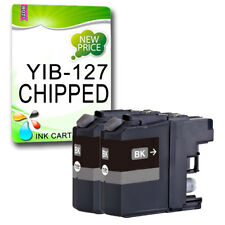 2 Black CHIPPED Ink Cartridge For LC127 DCP-J4110DW MFC-J4410DW MFC-J4510DW
