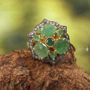 Sterling Silver Handmade Jewelry Girl's Ring Emerald and Pave Diamond Nice Rings