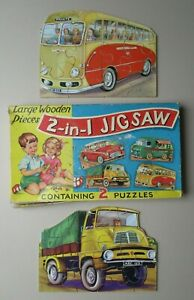 VINTAGE C.1940's 2 IN 1 WOODEN JIGSAWS Bus/Coach & Lorry/Truck with Original Box